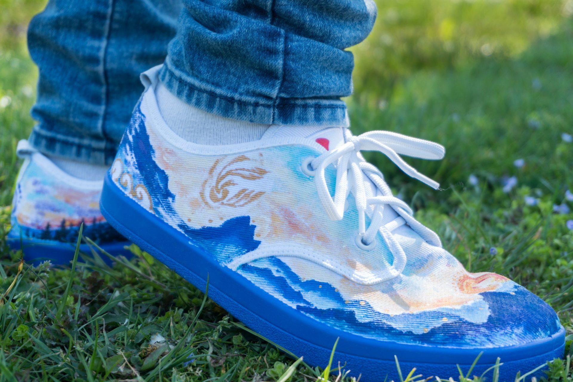 Maľba na topánky - krajina a hory