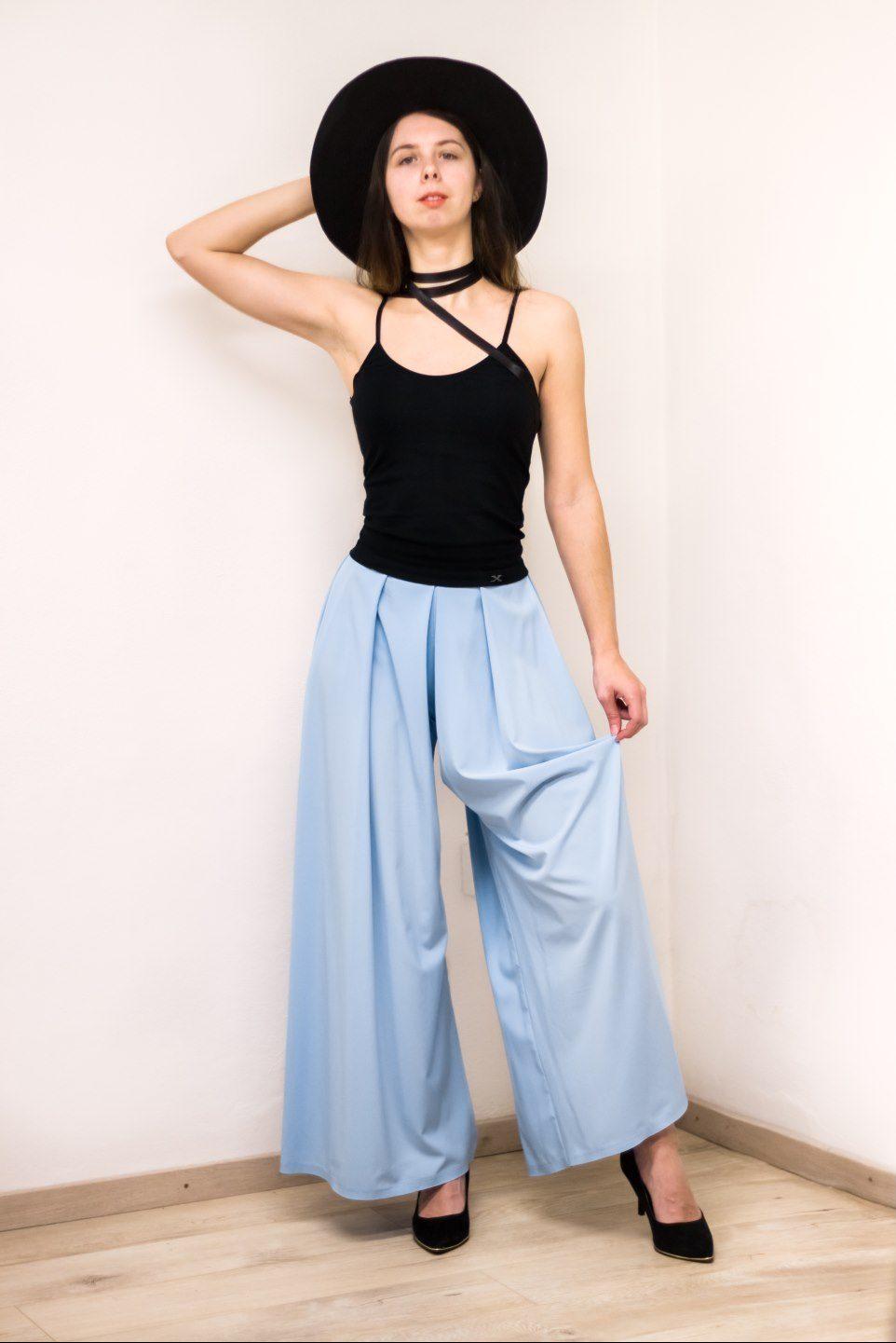 Retro modré nohavice
