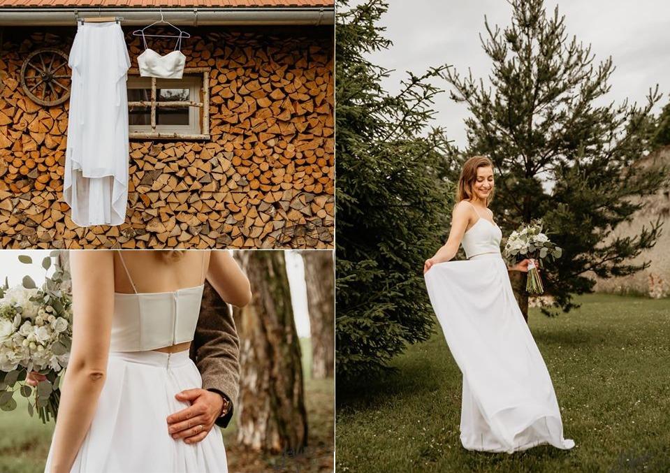 Minimalistické svadobné šaty - koláž