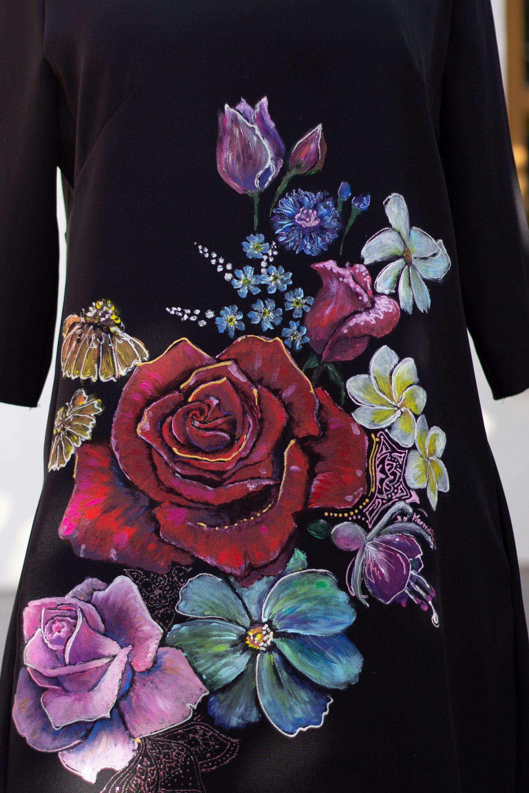 Maľba na textil - kvetiny