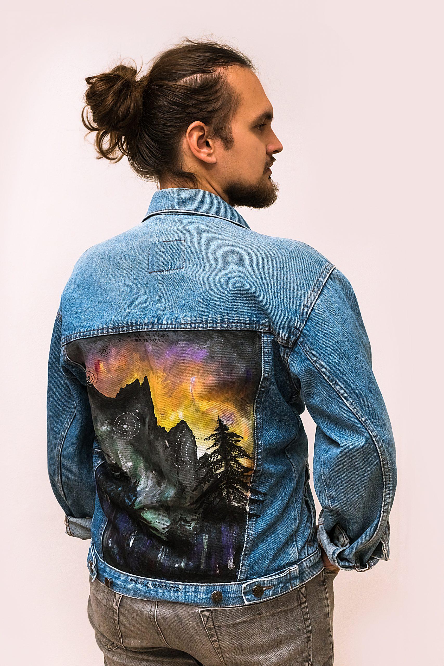 Maľovaná riflová bunda - hory - pánsky model