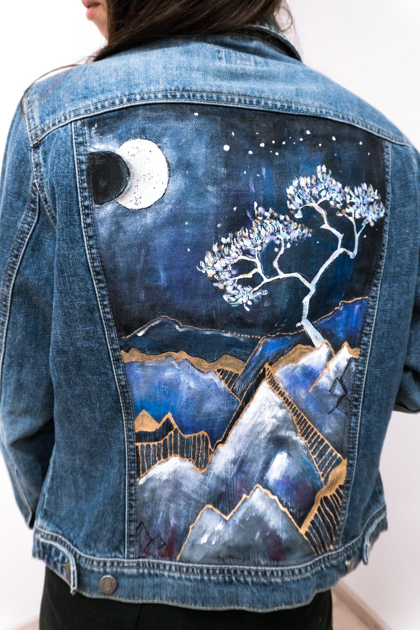 Maľovaná riflová bunda - sokolica - detail