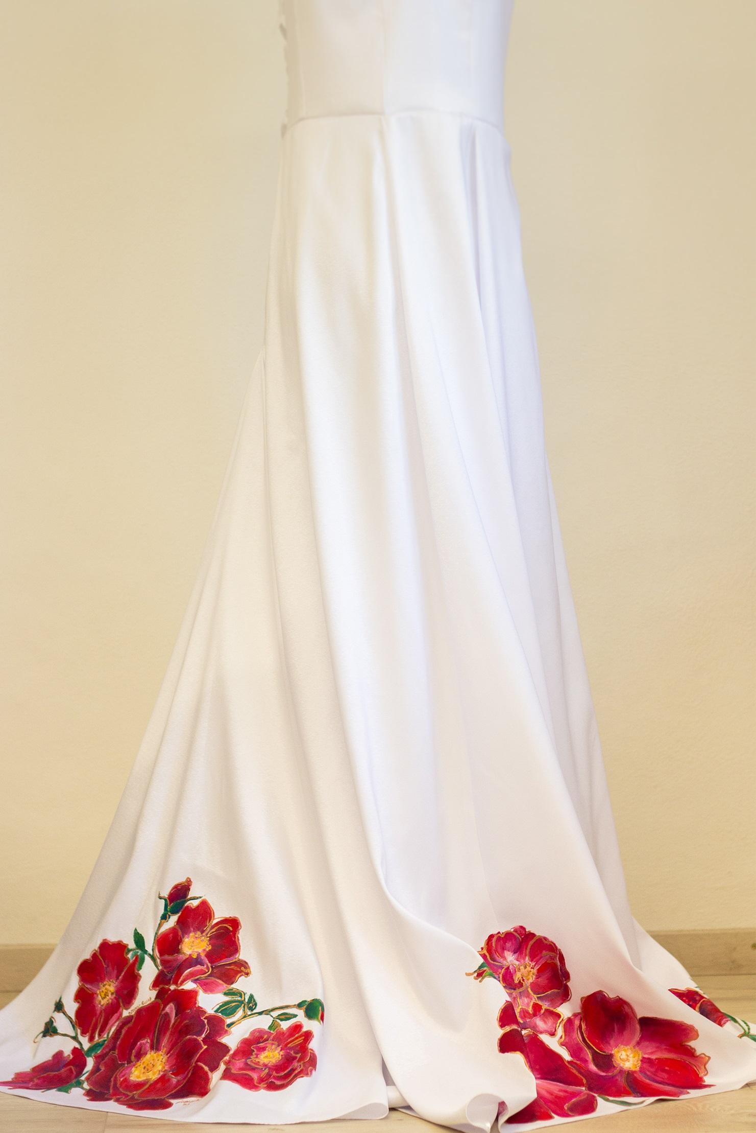 Maľované svadobné šaty - sukňa